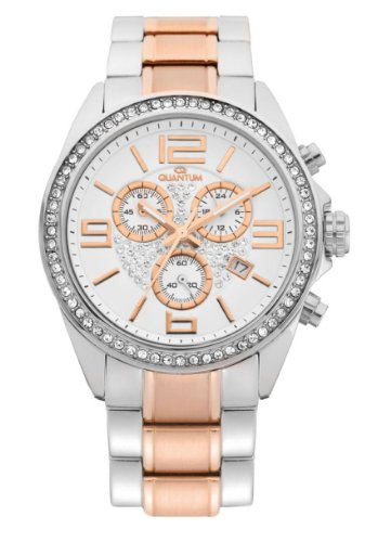 Quantum - Adrenaline ADL109 Lady's Watch, Chronograph, Stainless Steel - Rose Gold Plating, Two Toned Bracelet, Swarovski Stones, Date