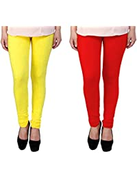 Snoogg Womens Ethnic Chic Inspired Churidar Leggings In Yellow And Red