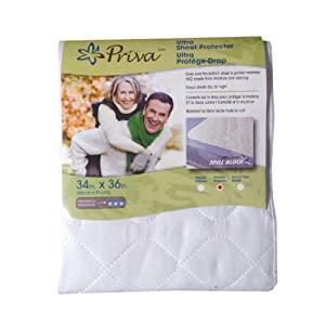 "Priva Ultra Absorbent Waterproof Sheet Protector With Handles, 34""x 36"", White"