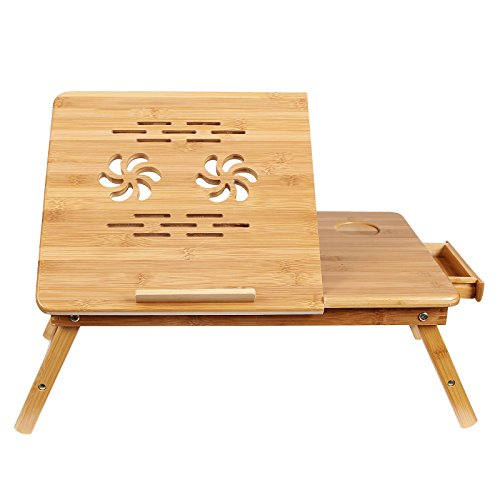 Songmics 100% Bamboo Portable Laptop Desk Table Foldable Breakfast Serving Bed Tray w