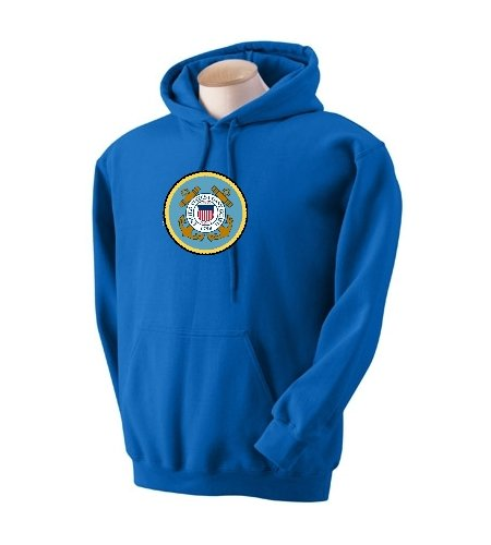 Custom U.S. Coast Guard Emblem Logo On Hooded Pullover Sweatshirt, Mens Xxx-Large, Ash front-960612
