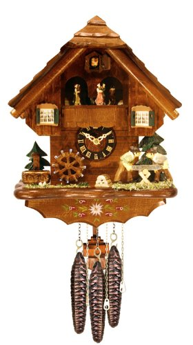 River City Clocks MD480-14 One Day Musical Cuckoo Clock Cottage with Dancers, Men Sawing Wood, And Waterwheel, 14-Inch Tall