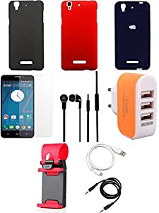 NIROSHA Tempered Glass Screen Guard Cover Case Headphone USB Cable Mobile Holder Charger Combo for YU Yureka Combo