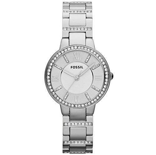 Fossil ES3282 Virginia - Reloj de pulsera para mujer, acero inoxidable, circonia, color plateado