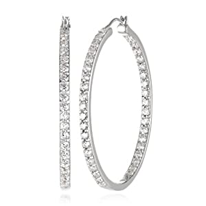 Platinum Plated Sterling Silver Swarovski Zirconia 1 1/2 inch round Hoop Earrings