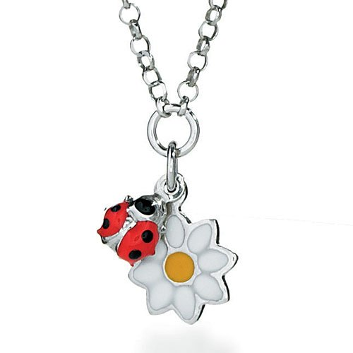 Liu-Jo Child's Necklace in Multicoloured 925 Silver, form Flower and ladybag, line Junior and baby, weight 3.5 grams