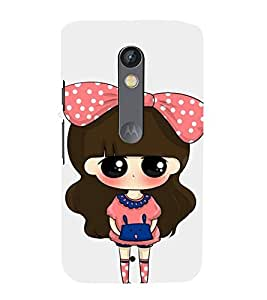 99Sublimation Cute Girl with Dotted Frock and Cack 3D Hard Polycarbonate Back Case Cover for Motorola Moto X Force :: Dual SIM