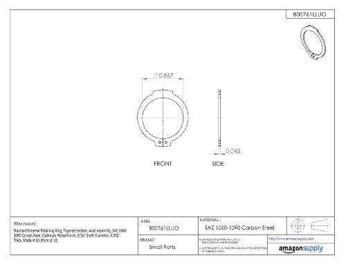 [해외]표준 외부 고정 링, 테이퍼 진 부분, 축 어셈블리, 1060-1090 탄소강, 카드뮴 도금 피니쉬, 5 16 축 직경, 0.042 두꺼운,/Standard External Retaining Ring, Tapered