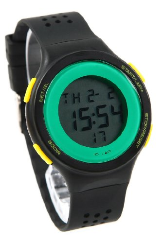 Korean Retro Girls Students Contrast Color Led Sport Watches Black Band Green Circle