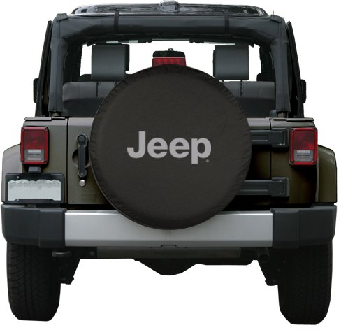 32″ Jeep Logo Tire Cover – (Black Denim Vinyl) – Silver Print – Made in the USA