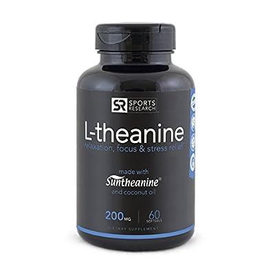 Suntheanine® L-Theanine 200mg (Double-Strength) in Cold-Pressed Organic Coconut Oil; Non-GMO & Gluten Free - 60 Liquid Softgel, Made in USA