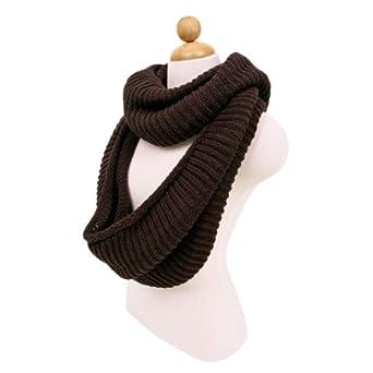 Premium Winter Knit Warm Infinity Scarf, Brown