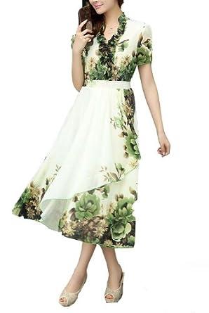 bininbox damen kleider romantisch sommer chiffonkleid freizeit lang unsymmetrisch boho. Black Bedroom Furniture Sets. Home Design Ideas