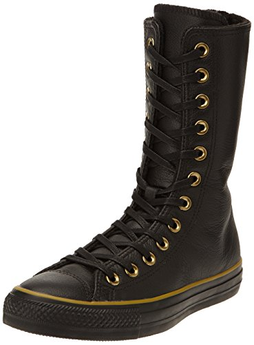 Converse, All Star X-HI ZIP Leather, Sneaker, Donna, Nero (Black/Dark Gold), 36