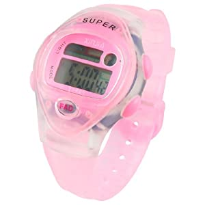 Lady Pink Soft Rubber Wristband Round Dial Alarm Stopwatch Sports Watch