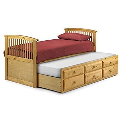 Antique Pine Single Slat Bed with Trundle - with Underbed Storage - A Gender-Neutral Bed Perfect for Both Boys and Girls (Antique)