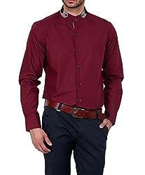Dazzio Men's Slim Fit Cotton Casual Shirt (DZSH0124_Grey_38)