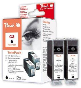 Peach C3 bk Twin Pack Tintenpatronen kompatibel zu Canon BCI-3e bk, schwarz