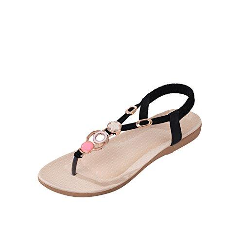 Summer pincer strass plat élastique plat sandales/Chaussures occasionnelles de peep-toe