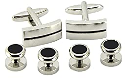 Okones High-quality Simplicity Stripes Cufflinks and black Studs for French Cuff Shirt