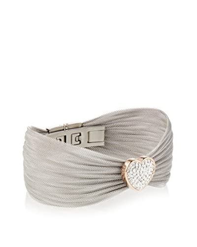 Chloe by Liv Oliver 18K Rose Gold and Silver Mesh Heart Cz Bracelet