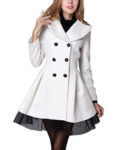 Match Womens Trench Coats #WLTC-009(X-Large, 009-White)