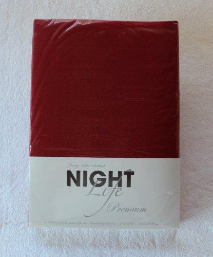 NightLife Jersey Spannbettlaken Farbe kirschrot rot Größe 180 x 190 bis 200 x 200 cm Spannbettuch Spannlaken mit Rundumgummi 100% Baumwolle