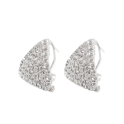 Rosallini Lady Rhinestone Cluster Embellished Eardrop Pierced Earrings Pair