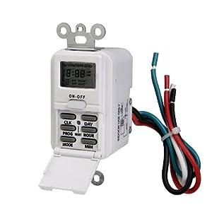 Westek TMDW10 Hardwire Indoor Digital Wall Switch Timer, White