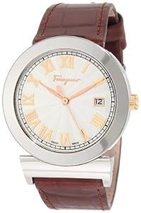 Salvatore Ferragamo Mens F71LBQ9902 S497 Grande Maison Brown Genuine Leather Band Rose Gold Plated Watch