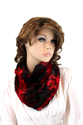 Fashion Dimensions Cruella Infinity Neck Scarf In Red Animal Print