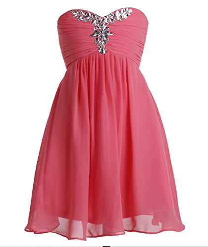 Fashion Plaza Girl's Chiffon Strapless Bridesmaid Flower Girl Dress K0091 (8, Coral)