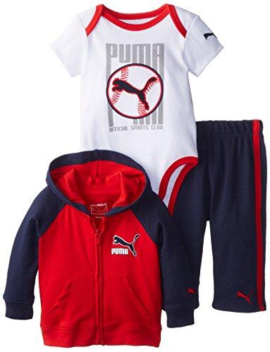 Puma Baby Boys Newborn 3-Piece Puma Interlock Raglan Jacket Set, Red, 3-6 Months front-42835
