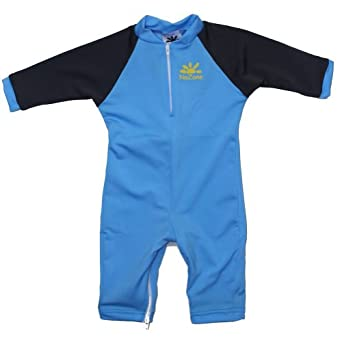 Aqua Sun Protective Baby Suit by NoZone in Aqua / Carbon, 0-6 mo.