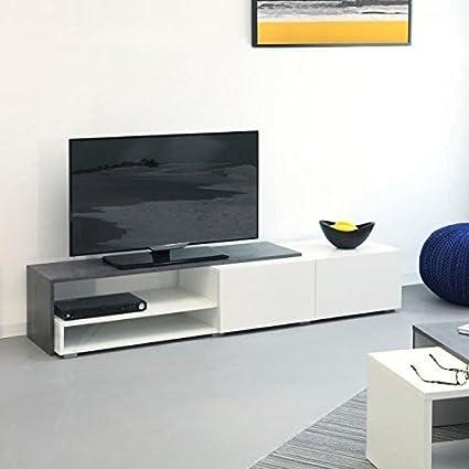 Symbiosis 3255A0619L02 Meuble TV avec 2 Tiroirs Bois Blanc/Bêton 168 x 32 x 42 cm