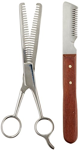 TAMSCO Trimming Kit, Stripping Set of 2, Leather Case, Double Tooth Thinning Shear, Medium Stripping Knife, Great for Horses, Stainless