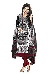 Shopeezo Black and White Colored Micro Cotton Printed Dress Material