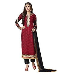 Touch Trends Red Embroidered Dress Material