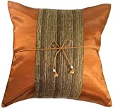 "Artiwa Copper Brown 16""x16"" Oriental Decorative Silk Throw Pillow Cover for Couch & Bed : Middle Stripe - Gift Idea"
