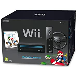 Wii Hw Negra + Wii Mario Kart + Wii Volante Volantes y pedales para videojuegos baratos Steering wheels and pedals video games cheap