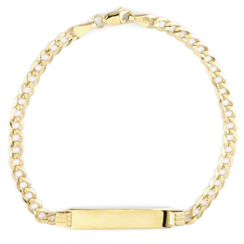 14k Yellow Gold Curb Link Boy's ID Bracelet, 7