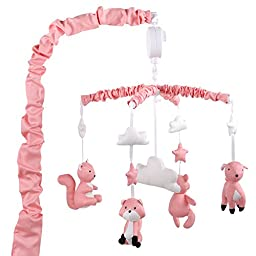 Coral Musical Mobile With Forest Animals by The Peanut Shell