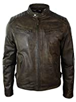 Hommes Slim Fit Style rétro zippé Blouson de moto en cuir lavé réel Brun urbain