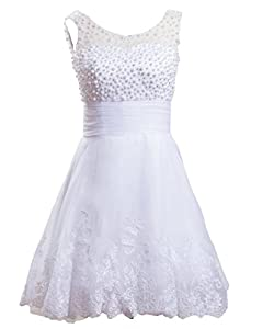 Lace  Applique Beaded Sleeveless Cocktail Knee Length Short Prom Dress/Party Dress  With Pearls