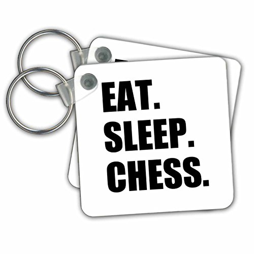 InspirationzStore Eat Sleep series - Eat Sleep Chess - passionate player - game playing passion black text - Key Chains - set of 2 Key Chains (kc_180389_1)