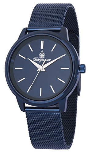 Burgmeister Women's Quartz Watch with Blue Dial Analogue Display and Black Metal Bracelet BMS02-033