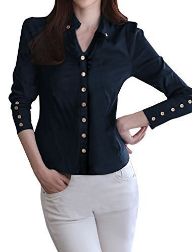 allegra-k-ladies-point-collar-long-sleeve-button-decor-cuffs-shirt-navy-blue-m
