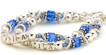 Sterling Silver & Birthstone Cube Crystal Mothers Name Bracelet - Double Strand