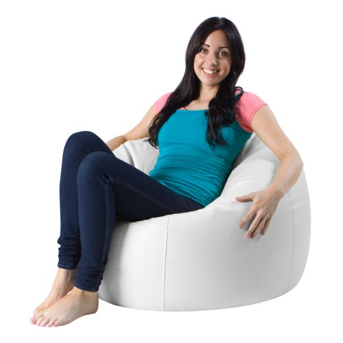 Bean Bag Bazaar® Panelled XL Bean Bag Chair WHITE Faux Leather Bean Bags