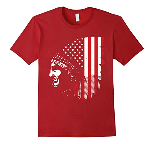 [Men's Native American Indian Chief T-Shirt 2XL Cranberry] (Male Indian Chief Costume)
